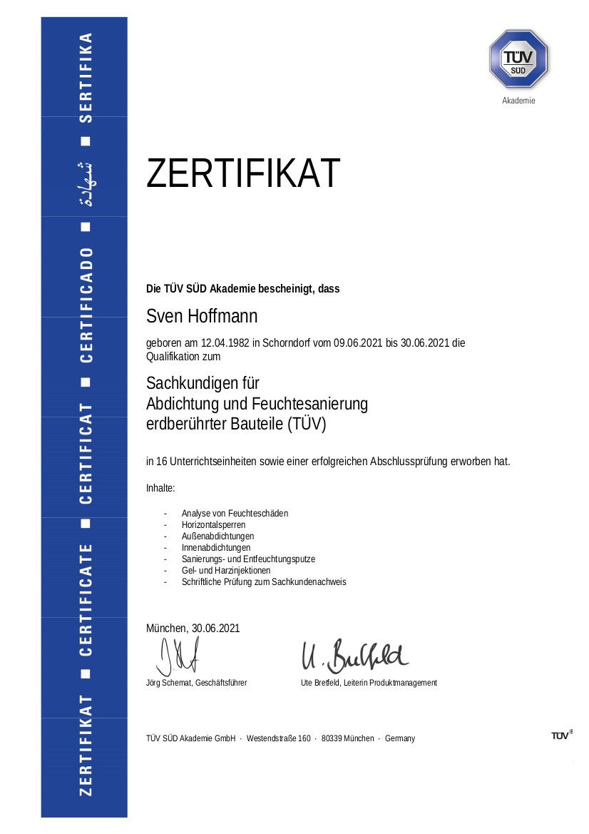 Sven Hoffmann Sachkundiger Feuchtesanierung Gutachter Zertifikat TÜV